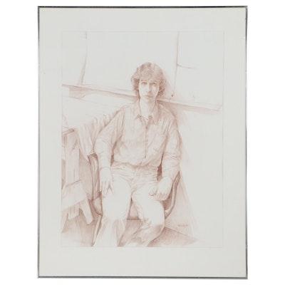 "Stanley Louis Rosenthal Pencil Drawing ""Portrait of a Boy,"" 1982"
