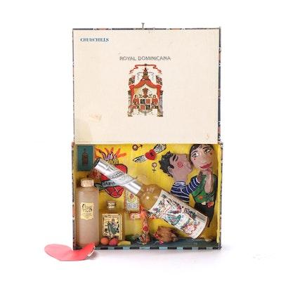 "Folk Art Mixed Media Cigar Box Diorama ""The Spirit of Giving,"" 1998"