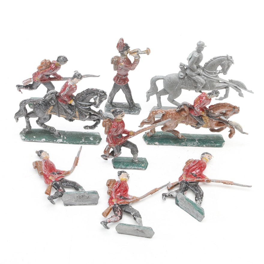 English Infantry and Cavalry Diecast Lead Toy Soldiers