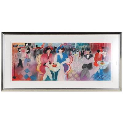 "Zule Moskowitz Mixed Media Painting ""Hotel Bar"""