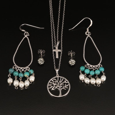 Sterling Earrings and Necklaces Including Turquoise, Cross and Tree of Life