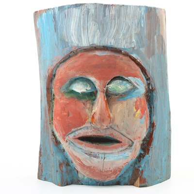 Folk Art Hand-Painted and Hand-Carved Face in Wood