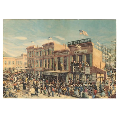 """Offset Lithograph """"Montgomery Street in 1852,"""" Late 20th Century"""