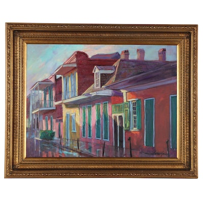 Frederick Guess New Orleans Street Scene Oil Painting