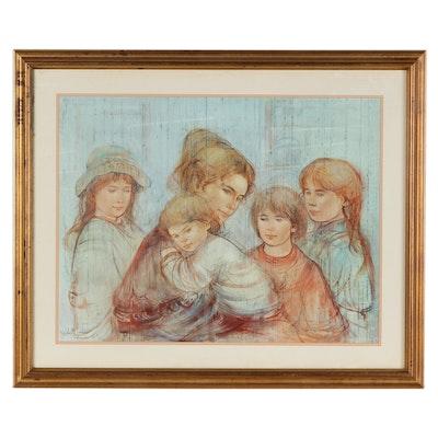 "Offset Lithograph After Edna Hibel ""Leah and Children"""