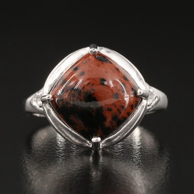 Sterling Silver Ring with Mahogany Obsidian and Topaz