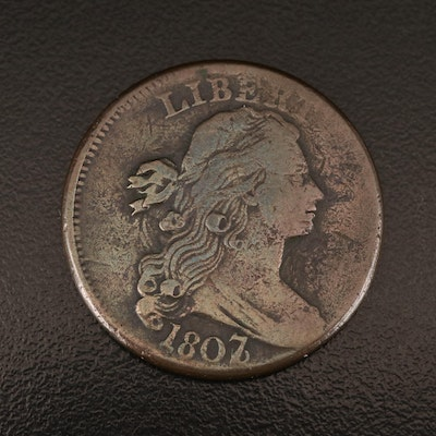 """1807 """"7 Over 6 - Pointed 1"""" Draped Bust Large Cent"""