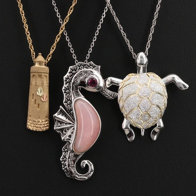 Nautical Pendant Necklaces with 10K Lighthouse and Sterling Turtle and Seahorse