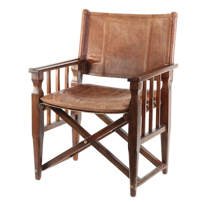 Campaign Style Wood and Leather Folding Director's Chair