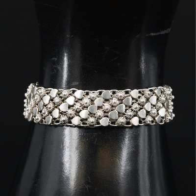 Sterling Fancy Link Bracelet with Cannetille Accents