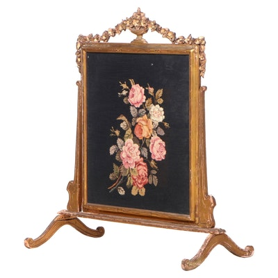 Louis XVI Style Giltwood & Needlepoint Fire Screen, Late 19th/Early 20th Century