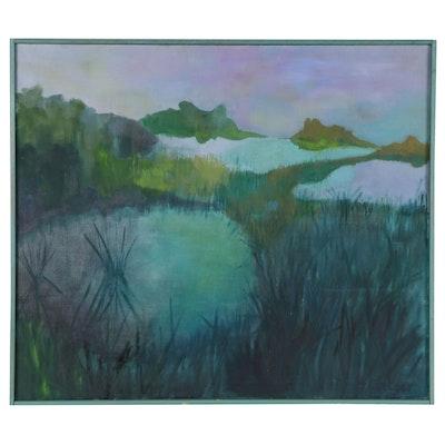 M. Stelzer Aquatic Landscape Acrylic Painting