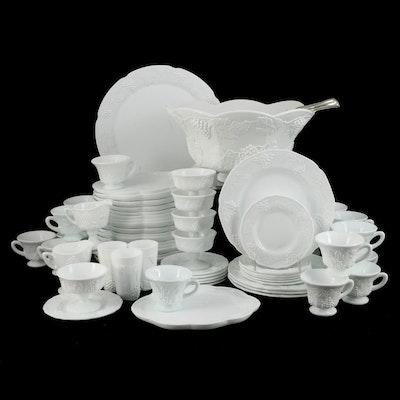 """Colony """"Harvest"""" Milk Glass Punch Bowl, Snack Plate Sets and Dinnerware"""