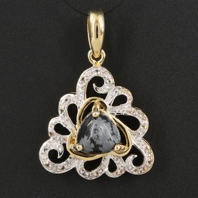 SterlingSilver Snowflake Obsidian and Topaz Pendant