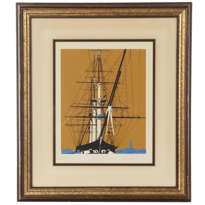 """Russell Barry Serigraph """"Old Ironsides,"""" Late 20th Century"""