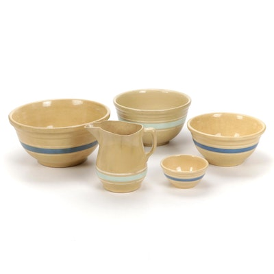 Yellow Watt Ware with Blue and White Stripes and Other Stoneware Mixing Bowls