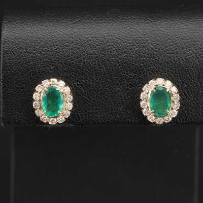 14K Emerald and Diamond Halo Stud Earrings
