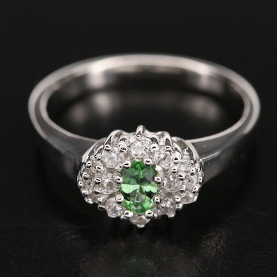 Sterling Tourmaline and Zircon Cluster Ring