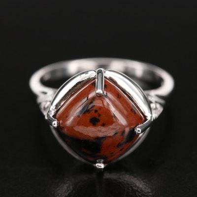 Sterling Mahogany Obsidian and Zircon Ring