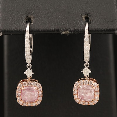 18K 2.99 CTW Diamond Earrings with GIA Reports with Rose Gold
