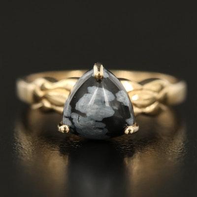 Sterling Snowflake Obsidian Triangular Ring