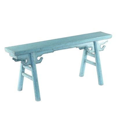 Chinese Blue-Painted and Carved Wood Bench