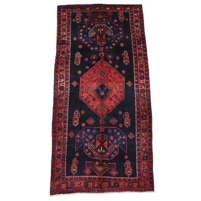 4'3 x 9'1 Hand-Knotted Persian Kurdish Area Rug
