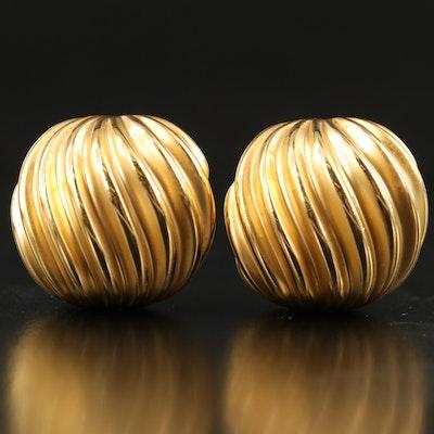 18K Charles Garnier Paris Fluted Earrings
