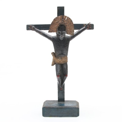 Folk Art Style Handcrafted Wood and Metal Crucifix