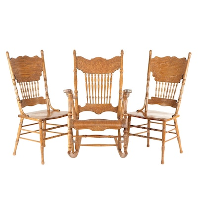 Pressed-Back Victorian Style Oak Spindle Back Dining Chairs and Rocker