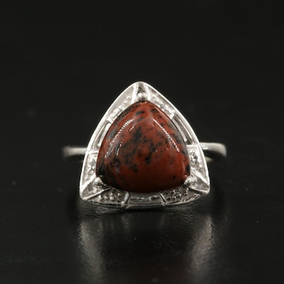 Sterling Silver Mahogany Obsidian with Topaz Ring