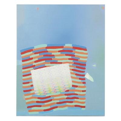 "Hannah Parrett Acrylic Painting ""Boat Grid,"" 21st Century"