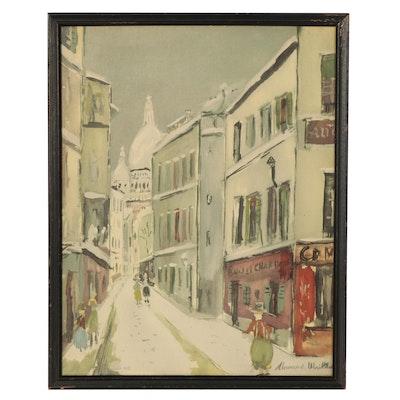 """Offset Lithograph After Maurice Utrillo """"Rue Saint-Rustique à Montmartre"""""""