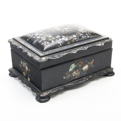 Mother-of-Pearl and Abalone Inlay Black Lacquered Vanity Box