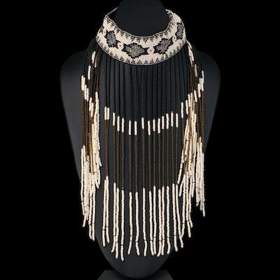 Bone and Glass Beaded Fringe Necklace
