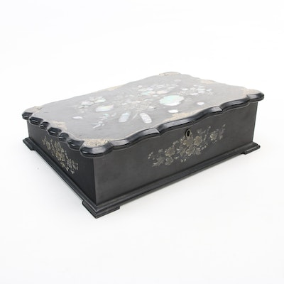 Asian Mother-of-Pearl and Abalone Inlay Black Lacquered Writing Box