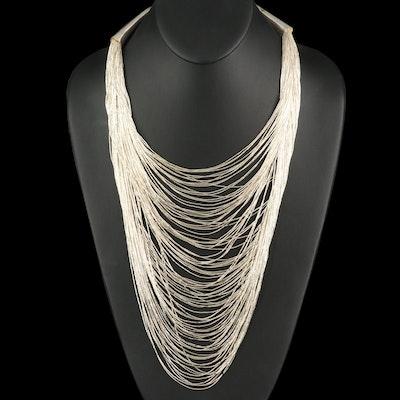 Sterling 100 Strand Liquid Silver Bib Necklace