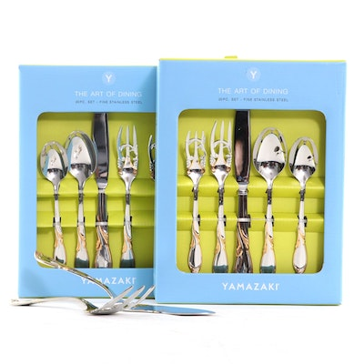 """Yamazaki """"Cache"""" Gold Accent Stainless Steel Flatware and Serving Utensils"""