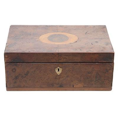 Inlaid Burl Wood Document Lock Box, 19th Century