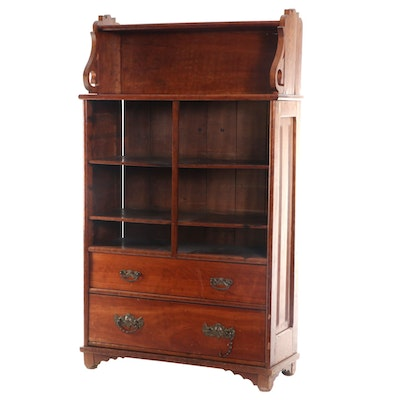 Late Victorian Cherry Two-Drawer Bookcase
