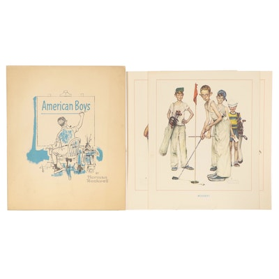 """Offset Lithograph Portfolio """"American Boys"""" After Norman Rockwell"""