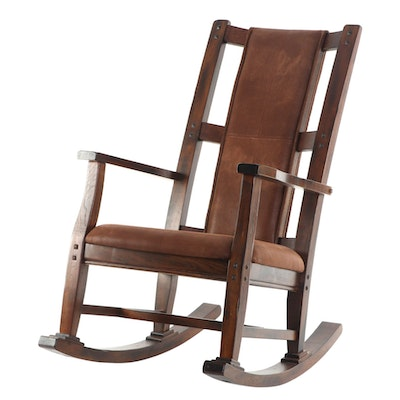 """Sunny Designs """"Santa Fe"""" Mahogany-Stained Rocking Chair with Microfiber Seats"""