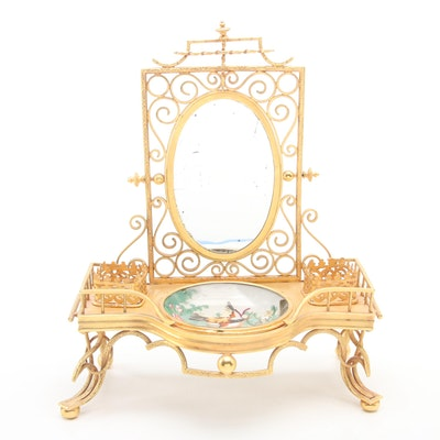 Gilt Brass Japonisme Vanity Tray Stand with Mirror and Porcelain Ring Dish