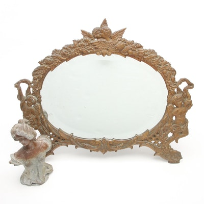 Victorian Cast Metal Putti Vanity Mirror with Cold Painted Spelter Bust