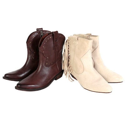 Lucky Brand and Zara Basic Collection Boots in Leather and Fringed Suede