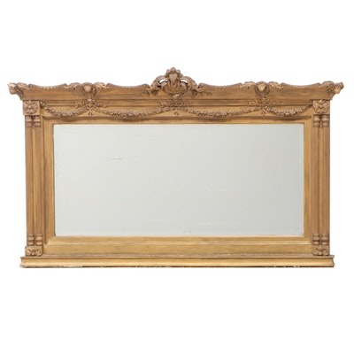 Neoclassical Style Giltwood and Composition Overmantel Mirror