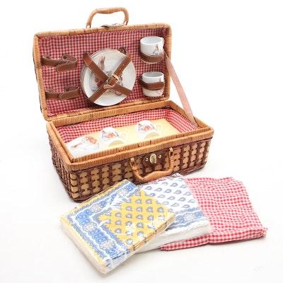 """Reutter """"Beatrix Potter: Peter Rabbit"""" Porcelain Picnic Basket Tea Set"""
