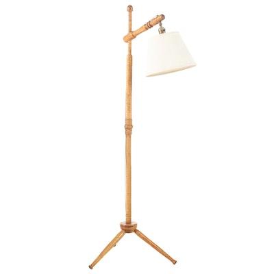 Bridge Arm Curly Maple Floor Lamp, Mid-20th Century