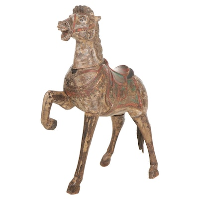 South Asian Style Polychrome Wood Horse