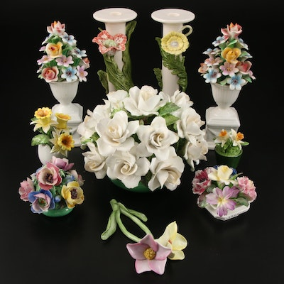 Crown Staffordshire Handmade Bone China Flowers with Other Ceramic Floral Decor